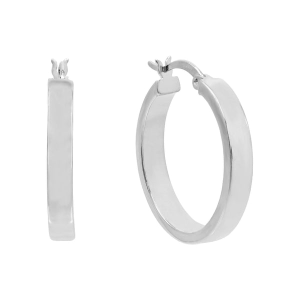 Silver / 25 MM Thick Wide Hoop Earring - Adina's Jewels