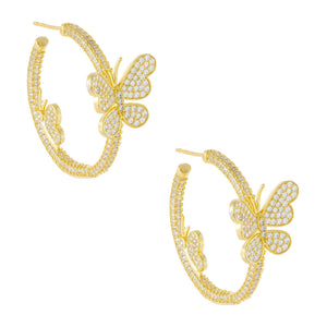Pavé Butterfly Hoop Earring Gold - Adina's Jewels