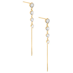 CZ Round Drop Stud Earring Gold - Adina's Jewels