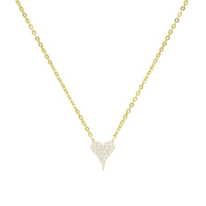Gold / Small Pavé Heart Necklace - Adina's Jewels