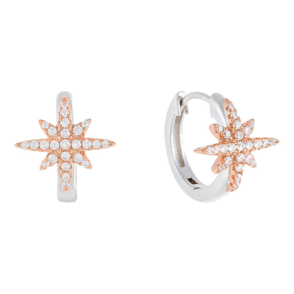 Rose Gold Two-Tone Starburst Huggie Earring - Adina's Jewels