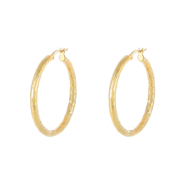 Hammered Hollow Hoop Earring - Adina's Jewels