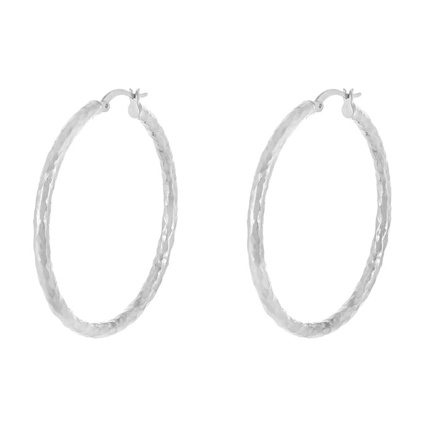 Silver / 45 MM Hammered Hollow Hoop Earring - Adina's Jewels