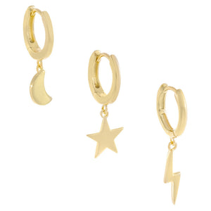 Celestial Huggie Earring Combo Set Gold - Adina's Jewels