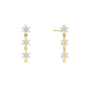 CZ Flower Drop Earring Gold / Pair - Adina's Jewels