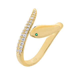 Gold CZ Serpent Wrap Ring - Adina's Jewels