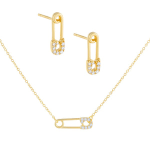 CZ Safety Pin Combo Set Gold - Adina's Jewels