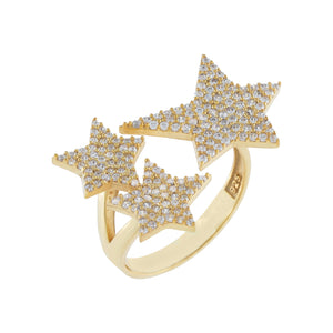Gold Pavé Triple Star Ring - Adina's Jewels