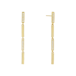 Pavé X Solid Bar Drop Earring Gold - Adina's Jewels