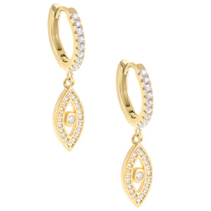Pavé Evil Eye Huggie Earring Gold - Adina's Jewels