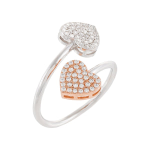 Two-Tone Pavé Heart Ring Rose Gold / 7 - Adina's Jewels