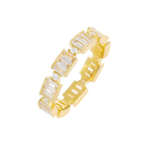 Gold / 9 CZ Baguette Ring - Adina's Jewels