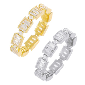 Two-Tone Baguette Stackable Ring Set Combo / 5 - Adina's Jewels