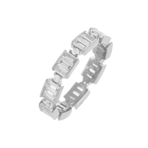 Silver / 7 CZ Baguette Ring - Adina's Jewels