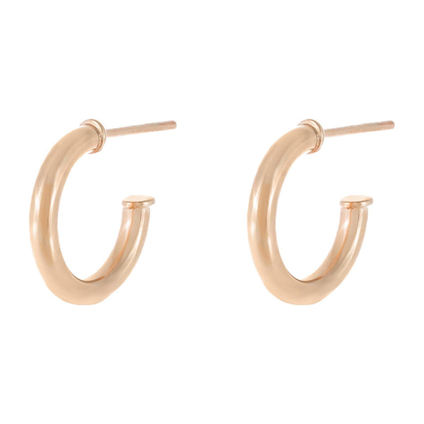 Rose Gold Thin Solid Hollow Hoop Earring - Adina's Jewels