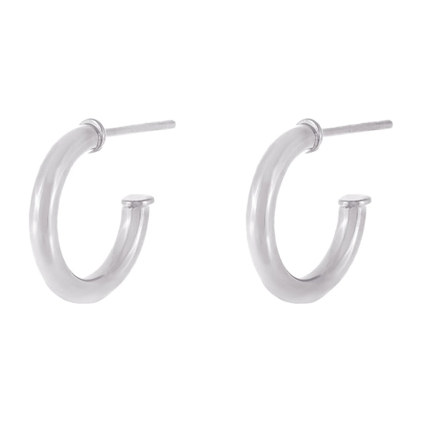 Silver Thin Solid Hollow Hoop Earring - Adina's Jewels