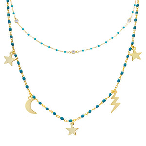 CZ Enamel Celestial Necklace Combo Set Turquoise - Adina's Jewels