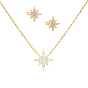 Pavé Starburst Combo Set Gold - Adina's Jewels