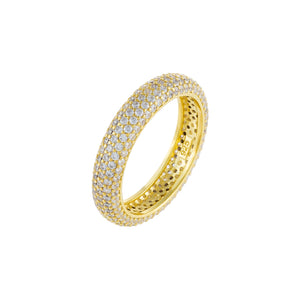 Thin Pavé Round Ring Gold / 6 - Adina's Jewels