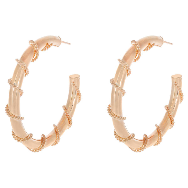 Rose Gold / 50 MM Rope Wrap Hollow Hoop Earring - Adina's Jewels