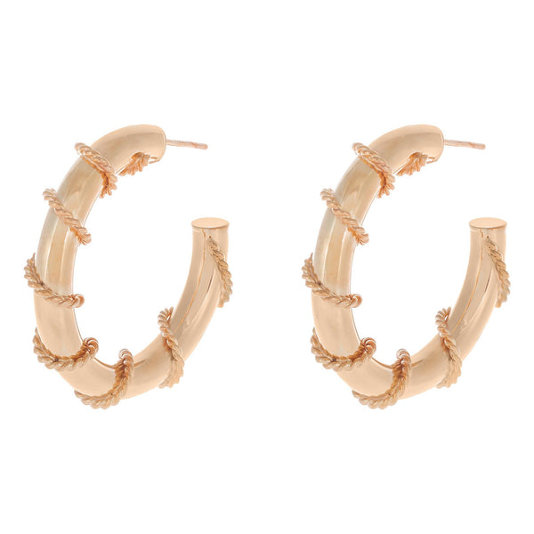 Rose Gold / 35 MM Rope Wrap Hollow Hoop Earring - Adina's Jewels