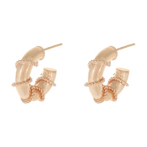Rose Gold / 20 MM Rope Wrap Hollow Hoop Earring - Adina's Jewels