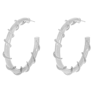 Silver / 50 MM Rope Wrap Hollow Hoop Earring - Adina's Jewels