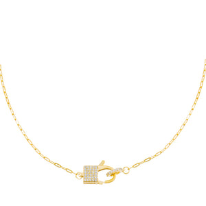 Pavé Square Clasp Link Necklace Gold - Adina's Jewels