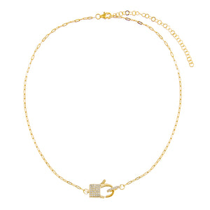 Pavé Square Clasp Link Necklace  - Adina's Jewels