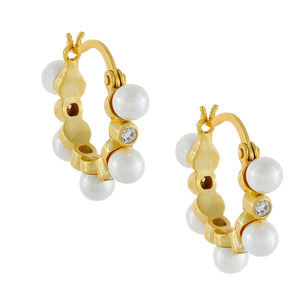 Pearl X Bezel Hoop Earring Gold - Adina's Jewels