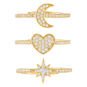 Pavé Charms Ring Set  - Adina's Jewels