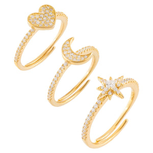 Pavé Charms Ring Set Gold - Adina's Jewels