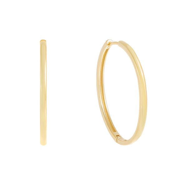 Thin Solid Hoop Earring Gold / 35 MM - Adina's Jewels