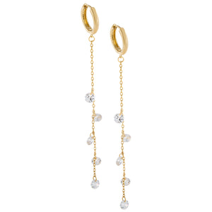 Floating CZ Chain Drop Huggie Earring Gold - Adina's Jewels