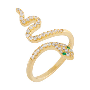 Pavé Snake Wrap Ring Gold / 6 - Adina's Jewels