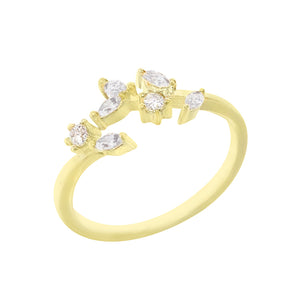 Gold CZ Leaf Adjustable Ring - Adina's Jewels
