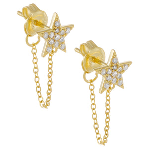 Pavé Star Chain Stud Earring Gold - Adina's Jewels
