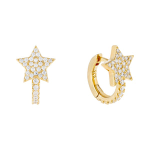 Pavé Star Huggie Earring Gold - Adina's Jewels