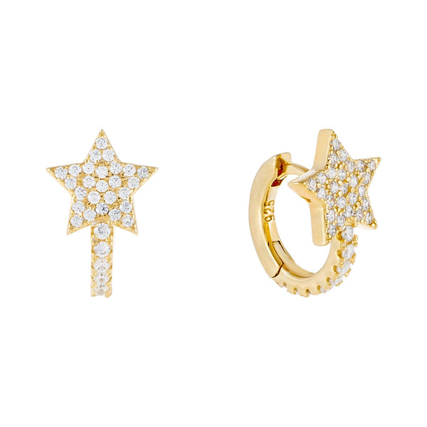Gold Pavé Star Huggie Earring - Adina's Jewels