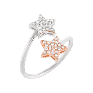 Rose Gold / 8 Two-Tone Pavé Star Ring - Adina's Jewels