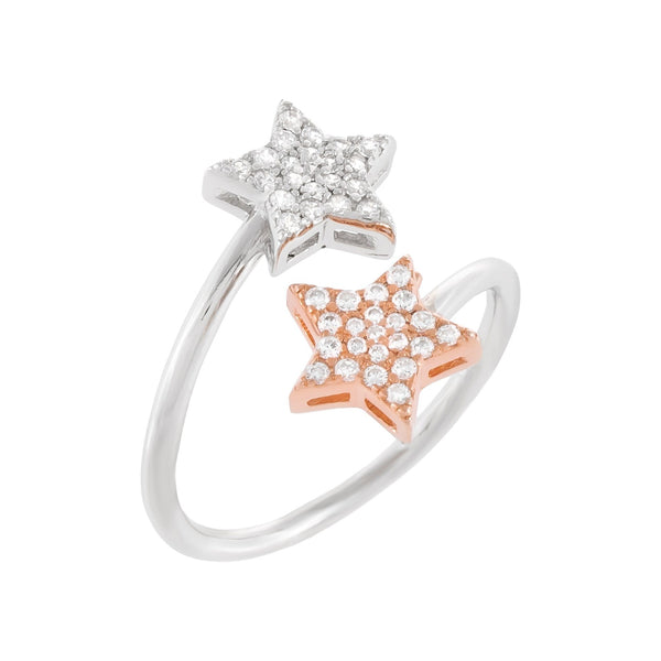 Two-Tone Pavé Star Ring Rose Gold / 8 - Adina's Jewels