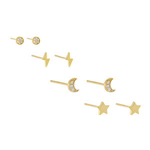 Pavé/Solid Celestial Stud Earring Combo Set Gold - Adina's Jewels