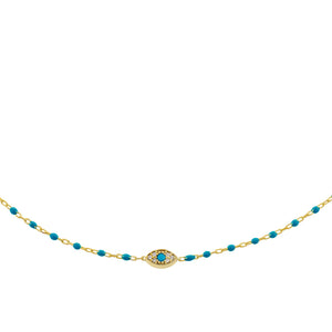 Evil Eye Enamel Necklace Turquoise - Adina's Jewels