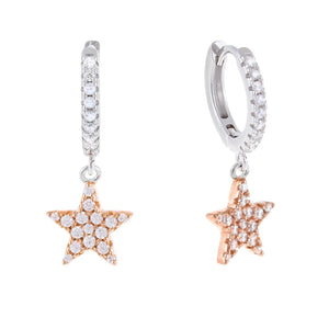 Two-Tone Dangle Star Huggie Earring Rose Gold - Adina's Jewels