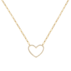 Gold CZ Open Heart Link Necklace - Adina's Jewels