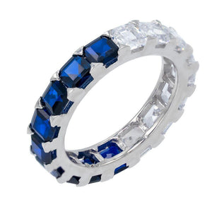 Sapphire Blue / 6 Two-Tone Princess Cut Band - Adina's Jewels