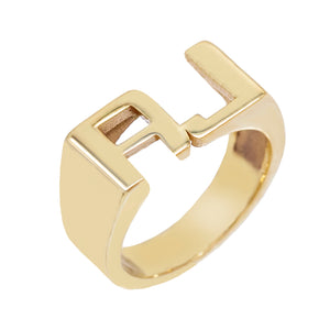 Double Initial Pinky Ring Gold / 3 - Adina's Jewels