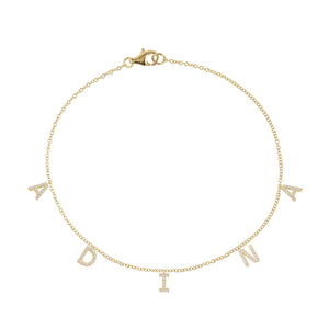 14K Gold / 1-3 Diamond Block Name Anklet 14K - Adina's Jewels