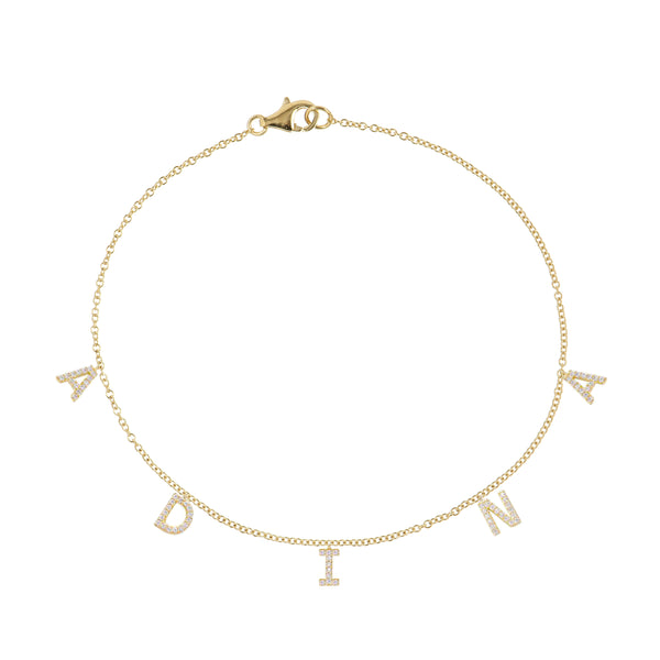14K Gold / 1-3 Letters Diamond Block Name Anklet 14K - Adina's Jewels