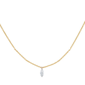 14K Gold Floating Diamond Marquee Necklace 14K - Adina's Jewels